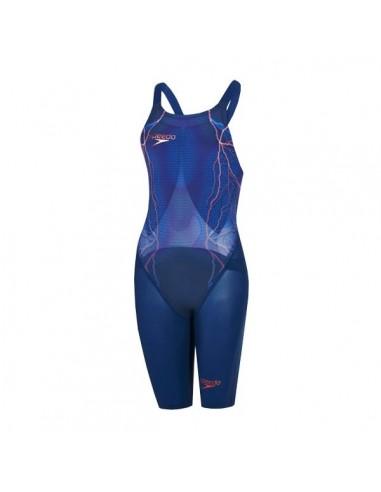 Speedo bañador Competición Fastskin LZR Racer X Openback Kneeskin Mujer Blue/Brown