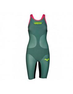 Arena Bañador Competición Powerskin Carbon Air Openback Kneesuit Mujer - Verde