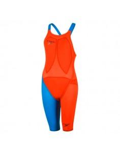 Speedo Bañador Competición Fastskin LZR Racer Elite 2 Openback Kneeskin Mujer Naranja / Azul
