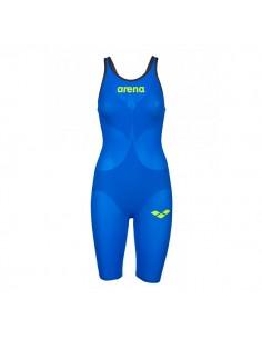 Arena Bañador Competición Powerskin Carbon Air 2 Openback Mujer - Azul eléctrico / Amarillo