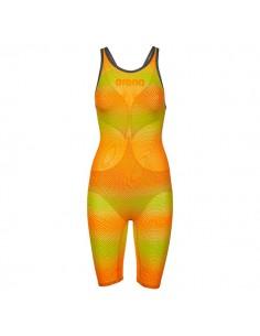 Arena Bañador Competición Powerskin Carbon Air 2 Openback Mujer Lima / Naranja